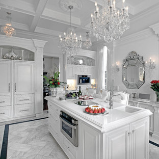 Large Elegant U Shaped Marble Floor Eat In Kitchen Photo New York With