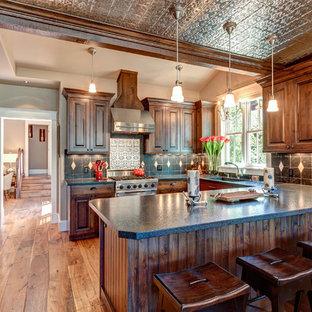 デンバーの中サイズのヴィクトリアン調のおしゃれなキッチン (アンダーカウンターシンク、レイズドパネル扉のキャビネット、中間色木目調キャビネット、シルバーの調理設備の、無垢フローリング、アイランドなし) の写真