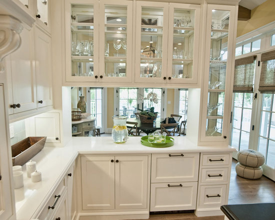 Double Sided Kitchen Cabinets peninsula with upper cabinets | houzz