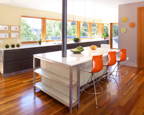 Large Contemporary Galley Medium Tone Wood Floor And Brown Floor Open  Concept Kitchen Idea In San