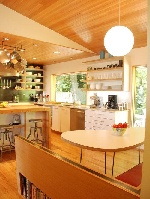 Cuisine moderne open plan ceilings photos et for Cuisine 4m