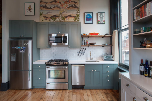 My houzz reclaimed style in an 1880s loft for 1880 kitchen cabinets