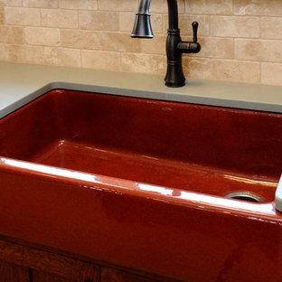 Brick Colored Kitchen Sink with Hand Rubbed Oil Finish