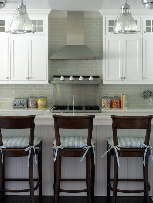 Example of a coastal kitchen design in New York with shaker cabinets  white  cabinets Grey Glass Tile Backsplash   Houzz. Kitchen Backsplash Glass Tile White Cabinets. Home Design Ideas