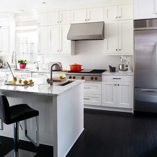 Eat In Kitchen Large Transitional L Shaped Dark Wood Floor