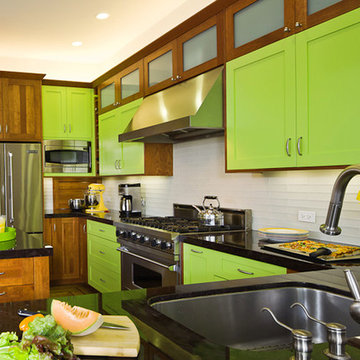 Bright and Colorful Lime Green Craftsman Style Kitchen