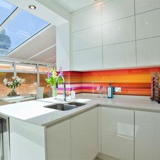 Bright Backsplash in White Kitchen
