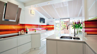 Bright Backsplash in White Kitchen