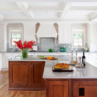 Example Of A Large Clic L Shaped Medium Tone Wood Floor Open Concept Kitchen Design