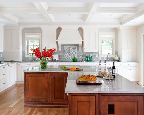 Example Of A Large Classic L Shaped Medium Tone Wood Floor Open Concept  Kitchen Design