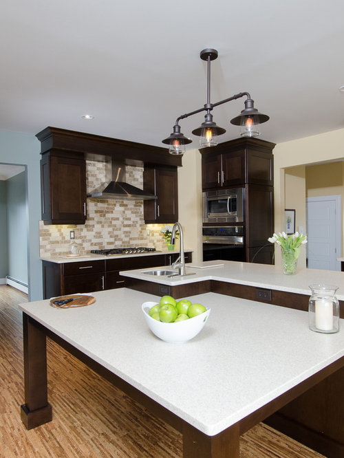 Kitchen Design Ideas Renovations Photos With Dark Wood Cabinets And Cork Flooring