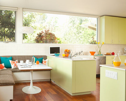 Inspiration For A Contemporary Kitchen Remodel In San Francisco With Yellow  Cabinets And Flat Panel