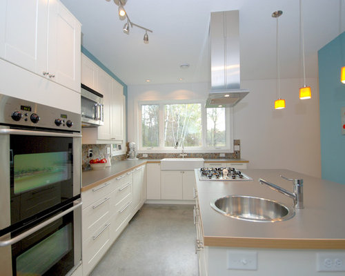 Kitchen Design Ideas Renovations Photos With Glass Tiled Splashback And Laminate Countertops