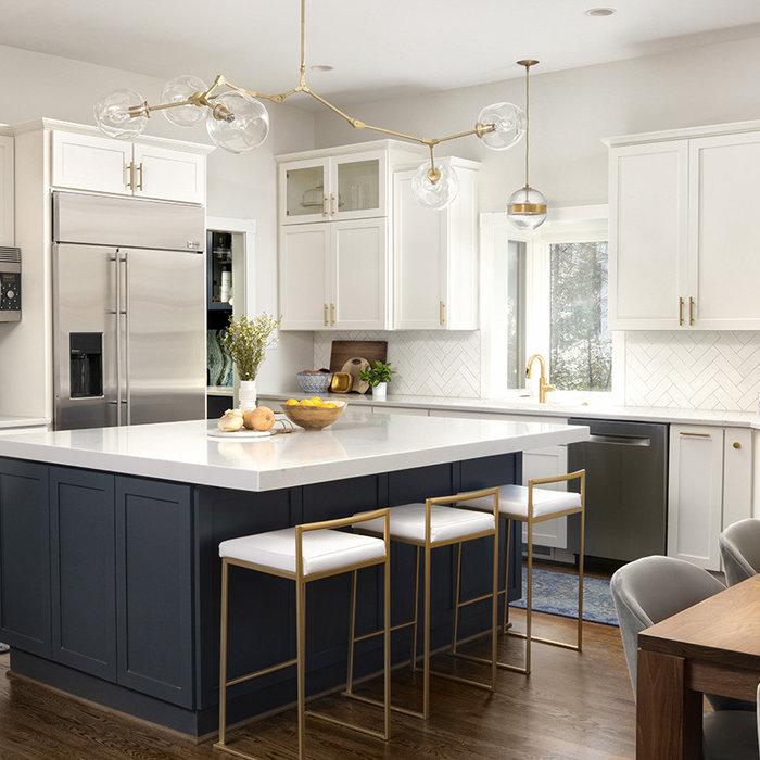 White, Navy, & Gold Kitchen Remodel
