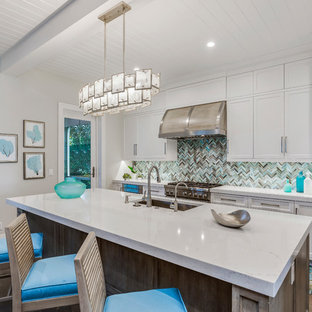 Bright Kitchen with glass tile and T & G ceiling