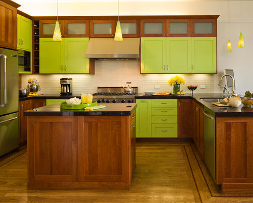 Lime green kitchen cabinets weifeng furniture for Lime green kitchen wallpaper