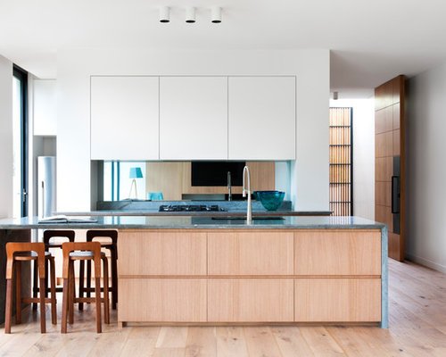 Inspiration For A Modern Galley Kitchen In Melbourne With Flat Panel  Cabinets, Medium Wood Part 94