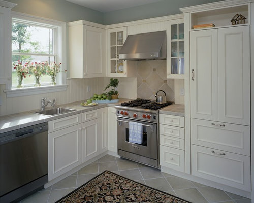 elegant kitchen photo in boston with tile countertops - Hood Designs Kitchens