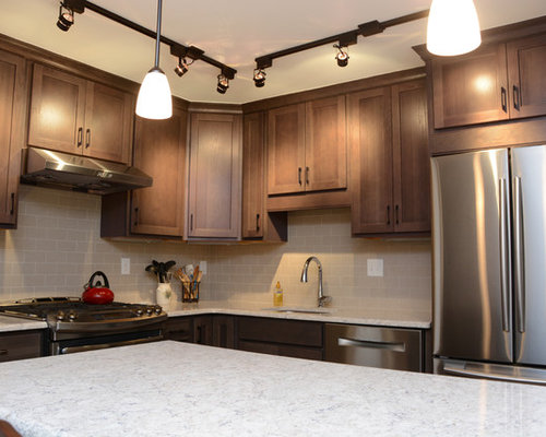 Hickory Kitchen Pantry with Porcelain Backsplash Design Ideas & Remodel Pictures | Houzz