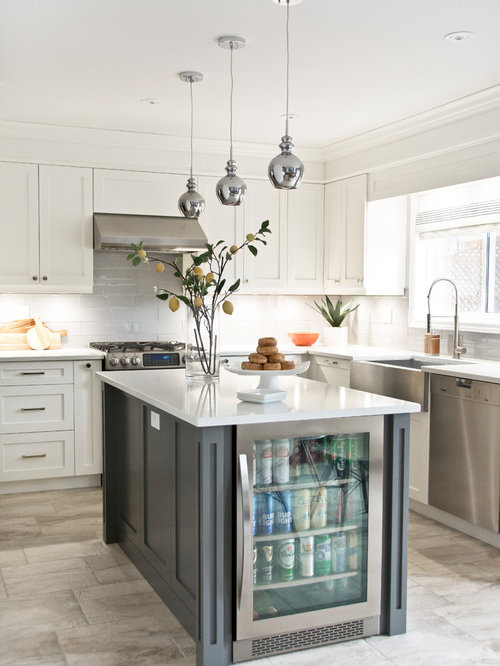 Transitional L Shaped Gray Floor Kitchen Photo In Toronto With A Farmhouse  Sink, Shaker