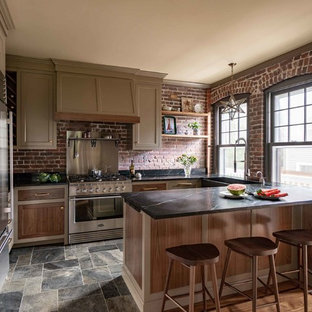 75 Beautiful Farmhouse Kitchen With Brown Cabinets Pictures ...