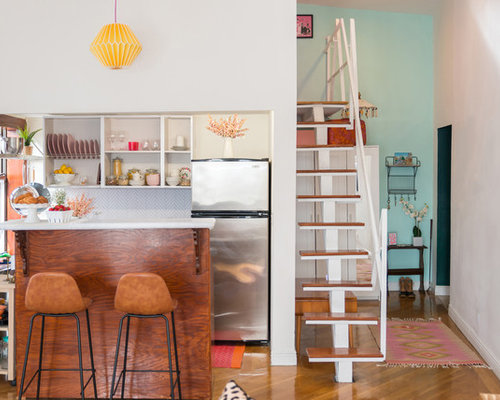 Small Eclectic Open Concept Kitchen Pictures   Example Of A Small Eclectic  Medium Tone Wood Floor