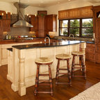 New Venetian Gold Granite White Cabinets Traditional Kitchen Charlotte Fireplace