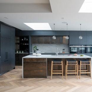 Brushed Oak and Metallic Panels