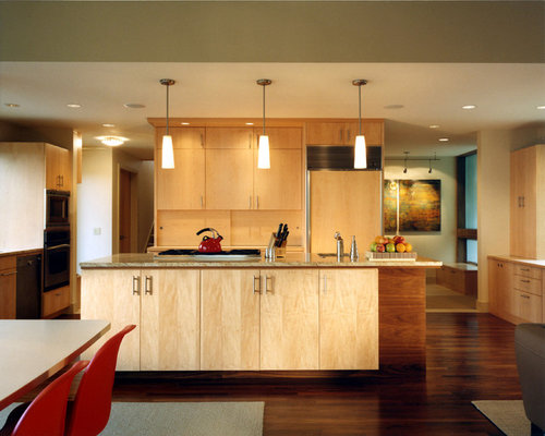 Trendy Kitchen Photo In Seattle With Flat Panel Cabinets And Light Wood  Cabinets