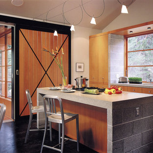 Inspiration for a rustic kitchen remodel in Seattle with flat-panel cabinets, light wood cabinets and paneled appliances