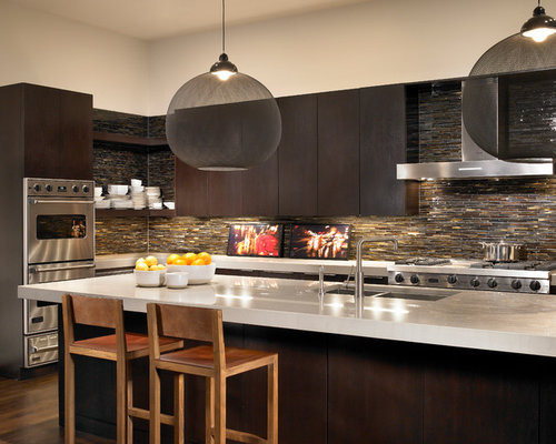 Trendy Kitchen Photo In Chicago With A Double Bowl Sink Flat Panel Cabinets