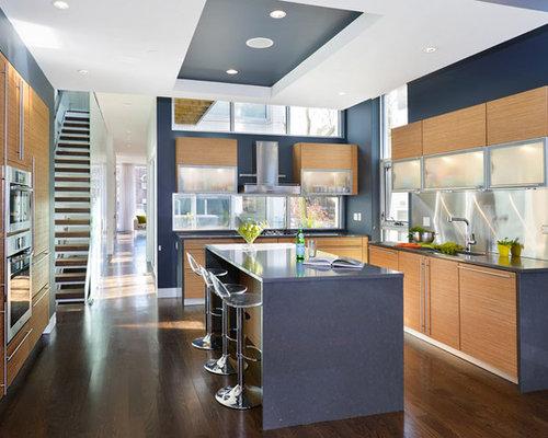 cuisine moderne mur bleu turquoise photos et ides dco de cuisines - Cuisine Mur Bleu Turquoise
