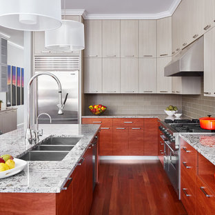 シカゴの大きいコンテンポラリースタイルのおしゃれなキッチン (トリプルシンク、フラットパネル扉のキャビネット、グレーのキャビネット、大理石カウンター、グレーのキッチンパネル、ガラスタイルのキッチンパネル、シルバーの調理設備の、茶色い床、濃色無垢フローリング) の写真