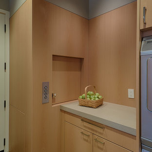 Mid-sized contemporary eat-in kitchen remodeling - Mid-sized trendy l-shaped light wood floor eat-in kitchen photo in San Francisco with an undermount sink, flat-panel cabinets, light wood cabinets, stainless steel appliances, an island and quartz countertops
