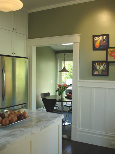 beautiful details wainscoting and paneled walls With kitchen colors with white cabinets with forth rail bridge wall art