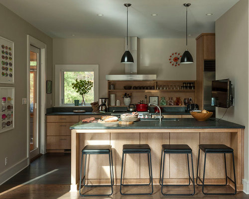Transitional Kitchen Pictures   Example Of A Transitional Galley Medium  Tone Wood Floor And Brown Floor