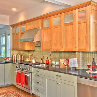 Built-in craftsman style cherry upper-cabinets