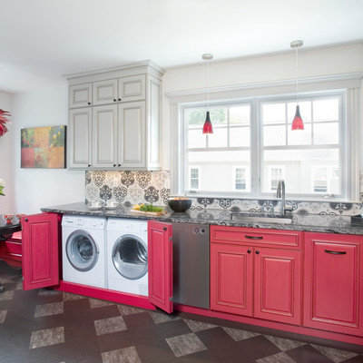 Example of a mid-sized eclectic l-shaped linoleum floor eat-in kitchen design in Boston with an undermount sink, raised-panel cabinets, red cabinets, granite countertops, ceramic backsplash, stainless steel appliances, no island and gray backsplash