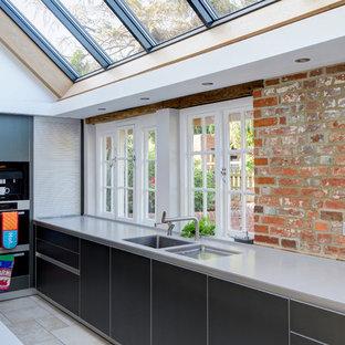 bulthaup dark aluminium kitchen in farmhouse