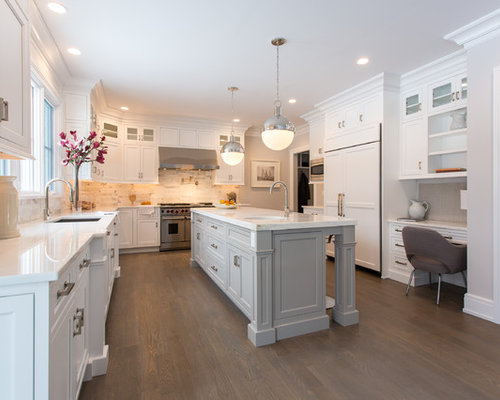 Transitional U Shaped Kitchen Idea In New York With Recessed Panel Cabinets White
