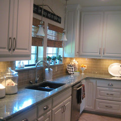 traditional kitchen Burlap and Glass