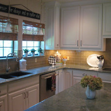 Eclectic Kitchen Burlap and Glass