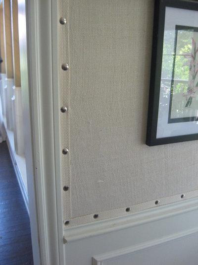 Traditional Kitchen Burlap Walls