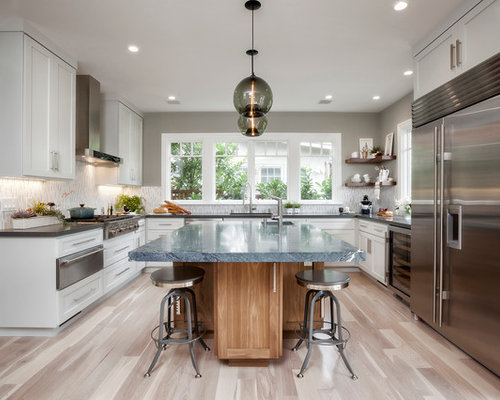 Large Contemporary U Shaped Light Wood Floor Kitchen Idea In San Francisco  With Shaker Cabinets