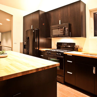 Example Of A Trendy Single Wall Kitchen Design In Portland With Flat Panel Cabinets Save Photo Butcher Block