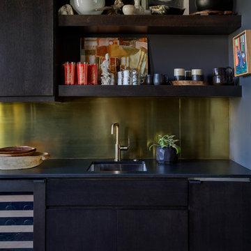 Butler's Pantry with Custom Brass Backsplash