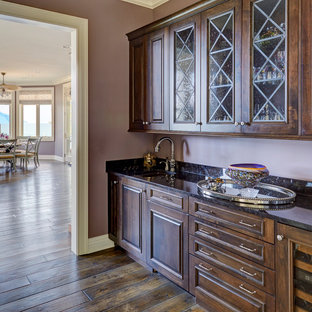 Small kitchen pantry pictures - Kitchen pantry - small single-wall dark wood floor and brown floor kitchen pantry idea in Chicago with an undermount sink, raised-panel cabinets, dark wood cabinets, granite countertops, black backsplash, stone slab backsplash, no island and black countertops