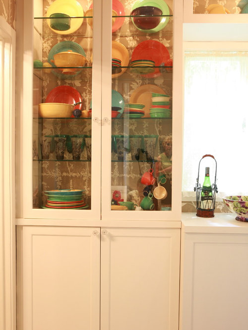 Orange Kitchen Pantry with Wood Countertops Design Ideas ...