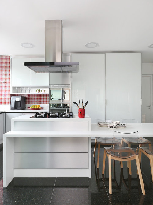 Contemporary Kitchen Ideas   Inspiration For A Contemporary L Shaped Gray  Floor Kitchen Remodel In