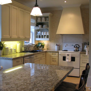 Inspiration for a timeless kitchen remodel in Toronto with granite countertops, a drop-in sink, open cabinets, beige cabinets, beige backsplash, mosaic tile backsplash and white appliances